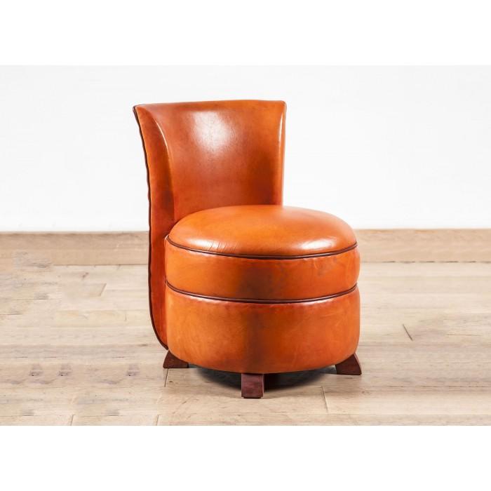 Chauffeuse club cuir orange - Chauffeuse confortable ...