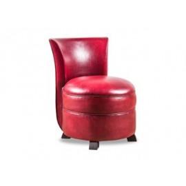 Chauffeuse cuir rouge vieilli