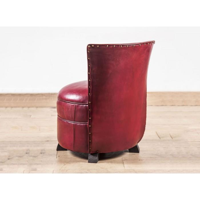 chauffeuse club cuir rouge vieilli b jannin paris. Black Bedroom Furniture Sets. Home Design Ideas