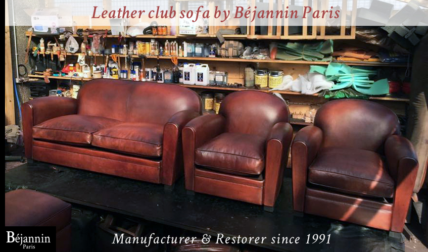 Club leather sofa and club armchair