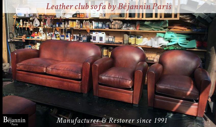 Club leather sofa and club armchair