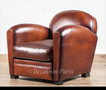 Le Bourbon Leather Club Armchair Fauteuil Club Cuir Basane