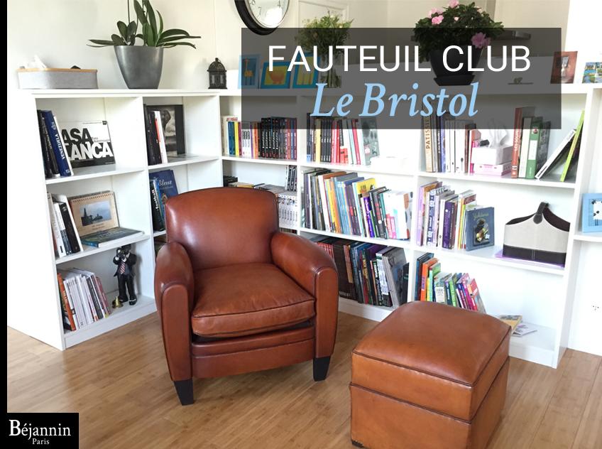 Fauteuil club cuir Paris Le Bristol : Fauteuil club cuir pleine fleur