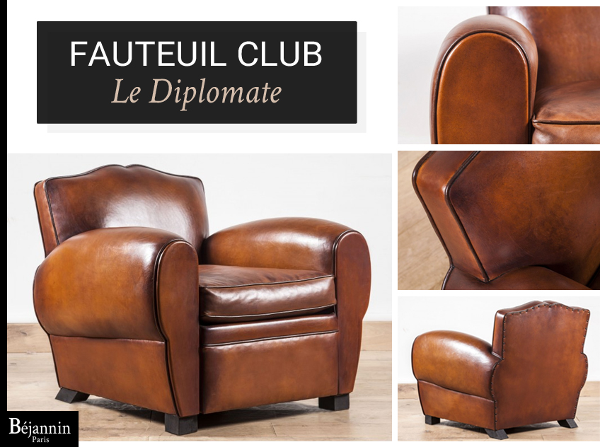 fauteuil club haut de gamme le diplomate club cuir luxe artisanal b jannin paris. Black Bedroom Furniture Sets. Home Design Ideas