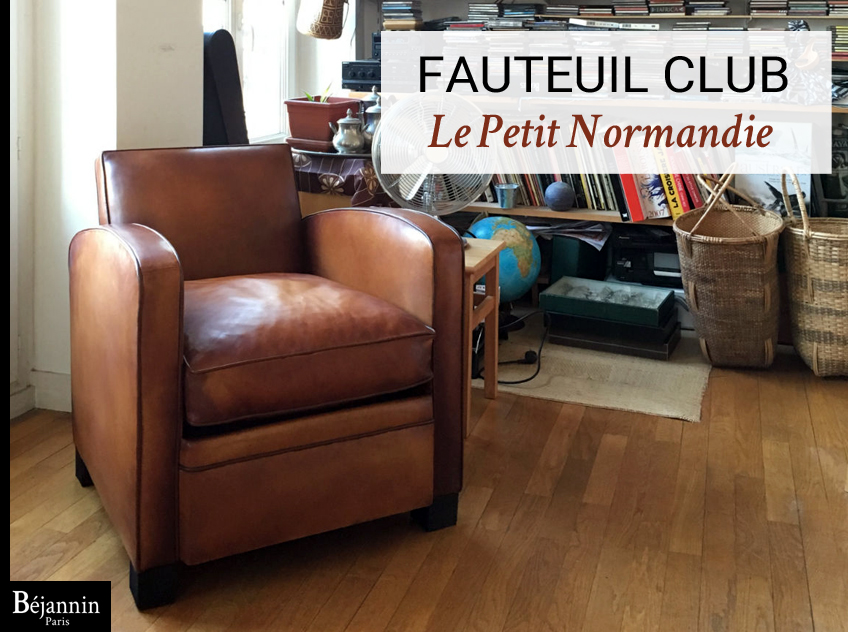 Petit fauteuil club cuir pleine fleur